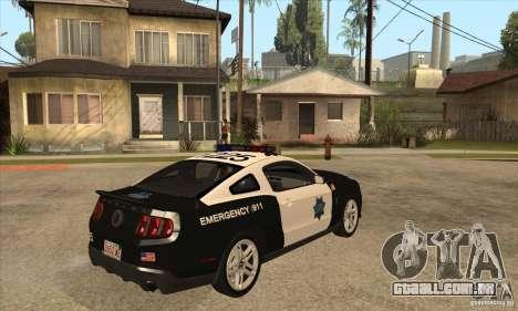 Shelby GT500 2010 Police para GTA San Andreas vista direita