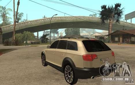 Audi Allroad Quattro para GTA San Andreas traseira esquerda vista