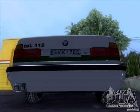 BMW E34 Policija para GTA San Andreas vista traseira