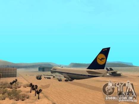 Boeing 747-100 Lufthansa para GTA San Andreas traseira esquerda vista