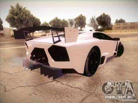 Lamborghini Reventon GT-R para GTA San Andreas traseira esquerda vista