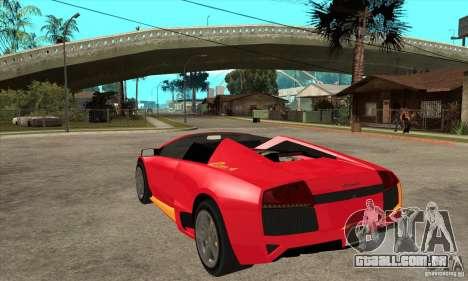 Lamborghini Murcielago LP650 para GTA San Andreas traseira esquerda vista