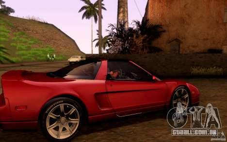 Acura NSX Targa para GTA San Andreas vista interior
