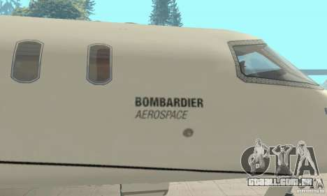 Bombardier Leardjet 45XR para GTA San Andreas vista traseira