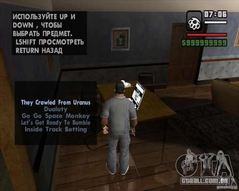 A oportunidade de jogar em um laptop para GTA San Andreas segunda tela