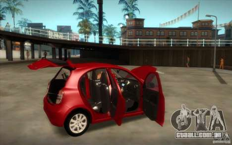 Nissan Micra 2011 para GTA San Andreas vista traseira