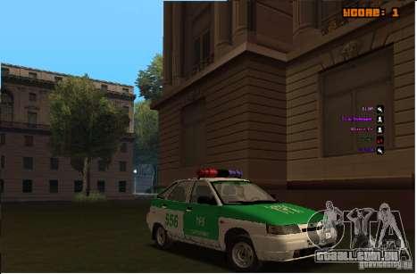 Polícia YPX VAZ-2112 para GTA San Andreas vista interior