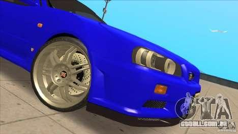 Nissan Skyline R34 FNF4 para GTA San Andreas vista interior