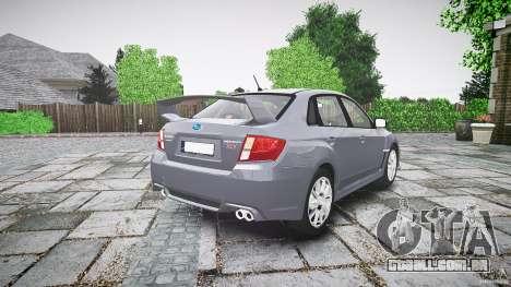 Subaru Impreza WRX 2011 para GTA 4 vista lateral