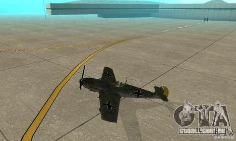 Bf-109 para GTA San Andreas traseira esquerda vista