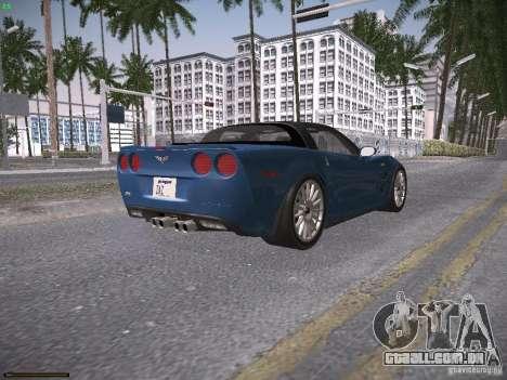 Chevrolet Corvette ZR1 para GTA San Andreas vista traseira
