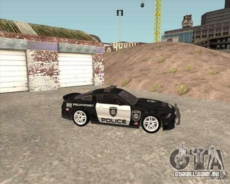 Ford Shelby GT500 2010 Police para GTA San Andreas vista direita