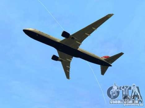 Boeing 767-300 British Airways para GTA San Andreas vista traseira