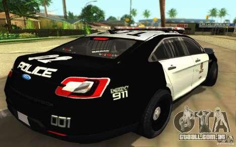 Ford Taurus 2011 LAPD Police para GTA San Andreas traseira esquerda vista