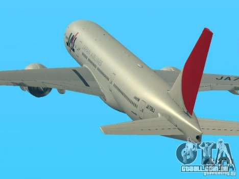 Boeing 777-200 Japan Airlines para GTA San Andreas esquerda vista