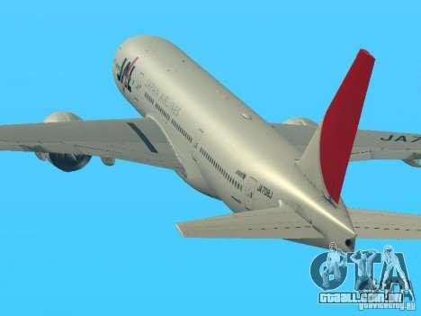 Boeing 777-200 Japan Airlines para GTA San Andreas esquerda vista