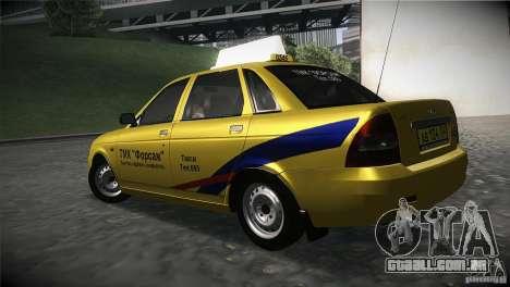 LADA Priora 2170 táxi TMK Afterburner para GTA San Andreas esquerda vista
