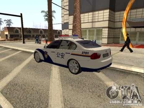 BMW 3 Series China Police para GTA San Andreas esquerda vista
