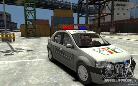 Dacia Logan Prestige Politie para GTA 4 vista de volta