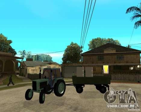 Tractor Belarus 80,1 e reboque para GTA San Andreas vista superior