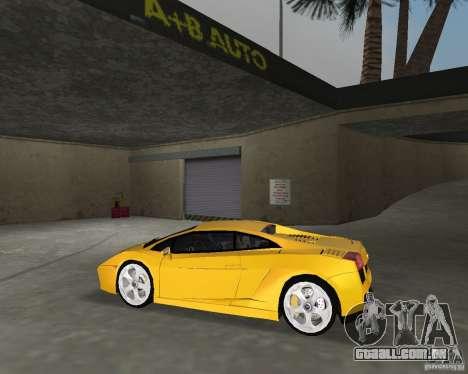 Lamborghini Gallardo v.2 para GTA Vice City vista traseira esquerda