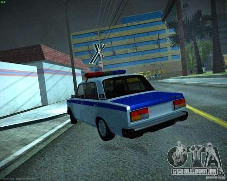 Polícia de 2107 VAZ para GTA San Andreas traseira esquerda vista