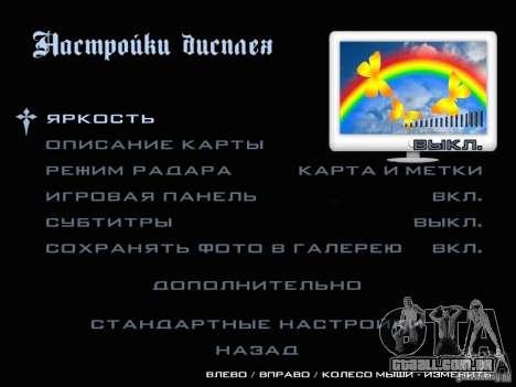 Novas imagens do menu para GTA San Andreas sexta tela