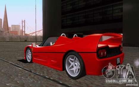 Ferrari F50 v1.0.0 1995 para GTA San Andreas traseira esquerda vista