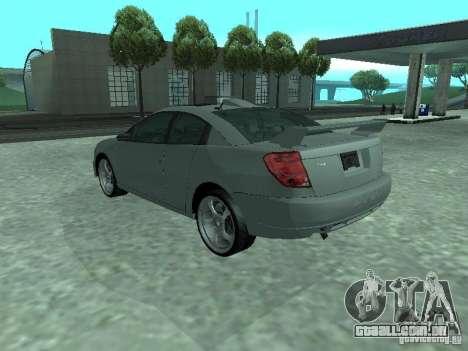 Saturn Ion Quad Coupe 2004 para GTA San Andreas vista inferior