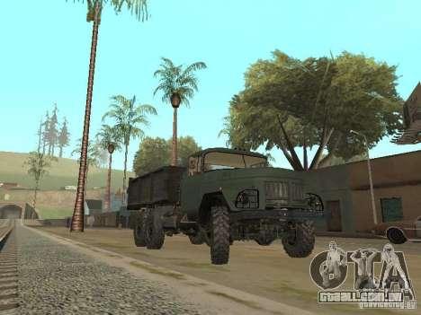 ZIL 131 caminhão para GTA San Andreas traseira esquerda vista