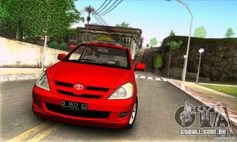 Toyota Kijang Innova 2.0 G para GTA San Andreas traseira esquerda vista