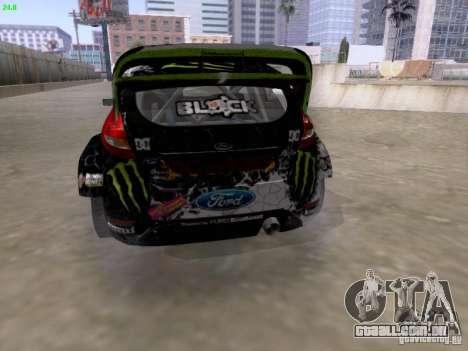 Ken Block Ford Fiesta 2012 para GTA San Andreas traseira esquerda vista