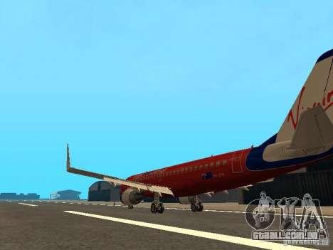 Embraer ERJ 190 Virgin Blue para GTA San Andreas traseira esquerda vista