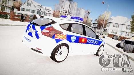 Ford Focus Macedonian Police para GTA 4 traseira esquerda vista