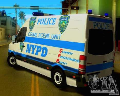 Mercedes Benz Sprinter NYPD police para GTA San Andreas traseira esquerda vista