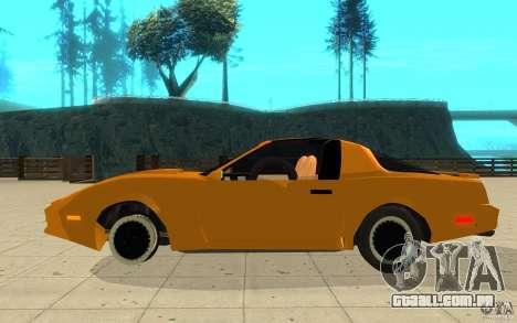 Pontiac Firebird 1989 K.I.T.T. para GTA San Andreas esquerda vista