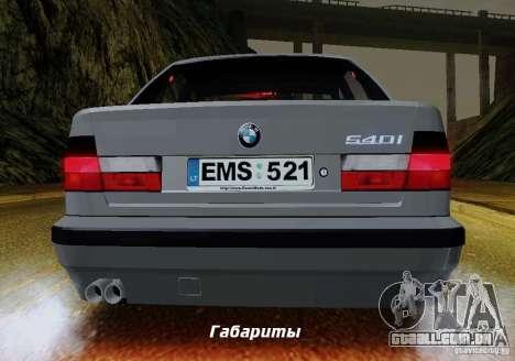 BMW E34 540i Tunable para GTA San Andreas vista inferior