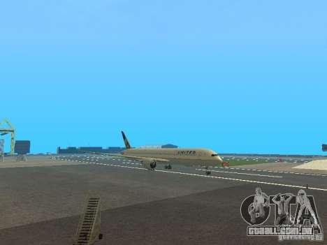 Boeing 787 Dreamliner United Airlines para GTA San Andreas esquerda vista