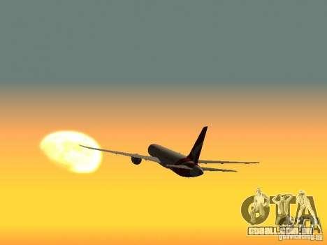 Boeing 787 Dreamliner Qantas para GTA San Andreas traseira esquerda vista