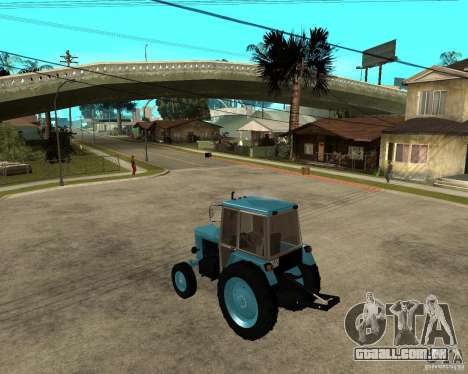 Tractor Belarus 80,1 e reboque para GTA San Andreas esquerda vista