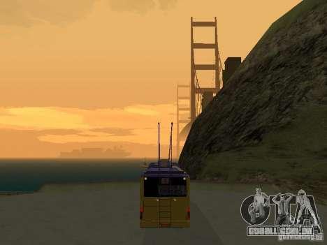 Trólebus LAZ e-183 para GTA San Andreas traseira esquerda vista