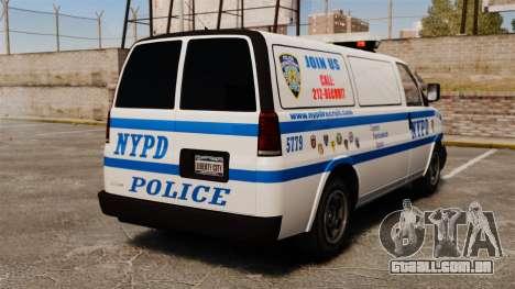 Polícia Speedo para GTA 4 traseira esquerda vista