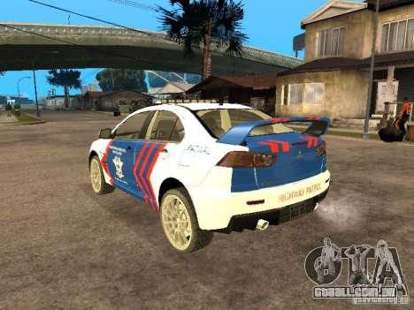 Mitsubishi Lancer X Police Indonesia para GTA San Andreas esquerda vista