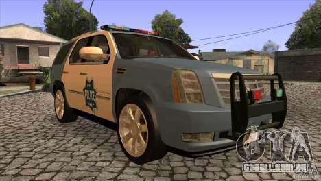 Cadillac Escalade 2007 Cop Car para GTA San Andreas vista traseira