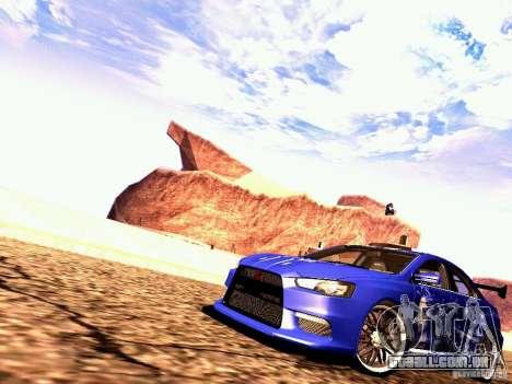 Mitsubishi Lancer EVO X Juiced2 HIN para GTA San Andreas esquerda vista