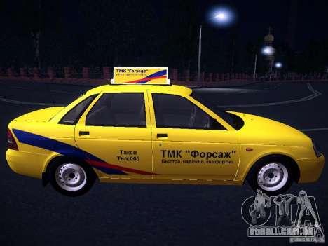 LADA Priora 2170 táxi TMK Afterburner para GTA San Andreas vista interior