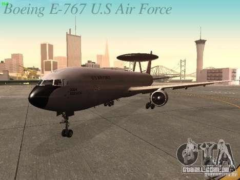 Boeing E-767 U.S Air Force para GTA San Andreas esquerda vista