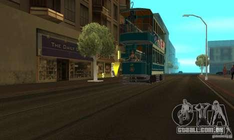Double Decker Tram para GTA San Andreas traseira esquerda vista