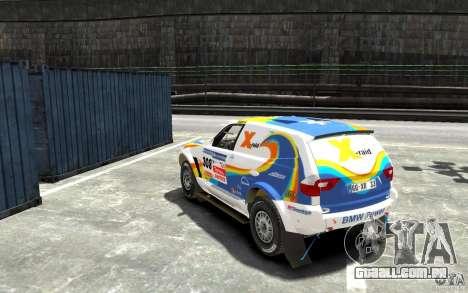 BMW X3 CC DAKAR para GTA 4 traseira esquerda vista