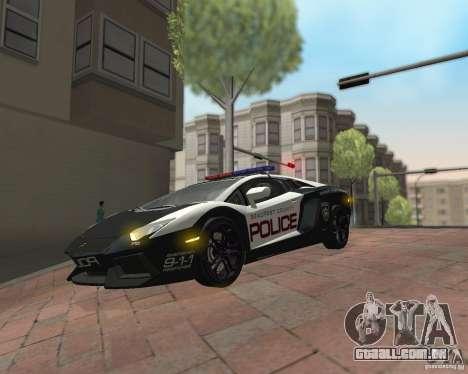 Lamborghini Aventador LP700-4 Police para GTA San Andreas vista traseira